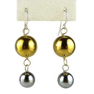 Simon Sebbag 24K Gold and Hematite over Sterling Silver Two Bead Earrings