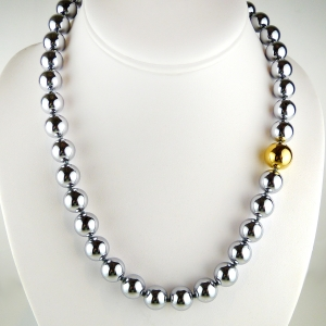Simon Sebbag Sterling Silver Hematite Gold Round Bead Necklace 20 inches