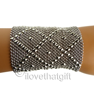 "Sergio Gutierrez Liquid Metal Bracelet Silver B11 3.5""Wide Mesh Cuff"