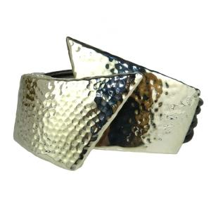 Simon Sebbag Angular Sterling Silver 925 Bracelet Multistrand Gunmetal Leather Magnetic
