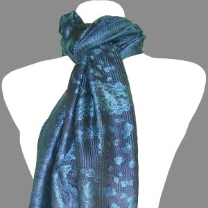 Tolani Super Silk Cobalt Blue Paisley Print Scarf 81 x 30 New