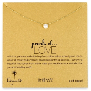 """Dogeared Pearls of Love Necklace 16"""" Gold Dipped"""